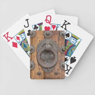Metal Knocker on Old Wooden Door Bicycle Playing Cards