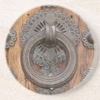 Metal Knocker on Old Wooden Door Coaster