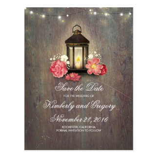 Metal Lantern Rustic String Lights Save the Date Postcard