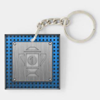 Metal-look 1st Place Trophy Double-Sided Square Acrylic Key Ring