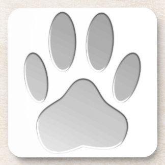 Metal-Look Dog Paw Print Drink Coasters