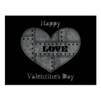 Metal love heart postcard