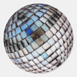 Metal Mirror Disco Ball Round Sticker