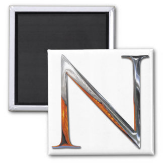 Metal N Monogram Square Magnet
