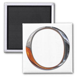 Metal O Monogram Square Magnet