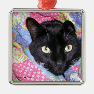 Metal Ornament: Funny Cat wrapped in Blankets Metal Ornament
