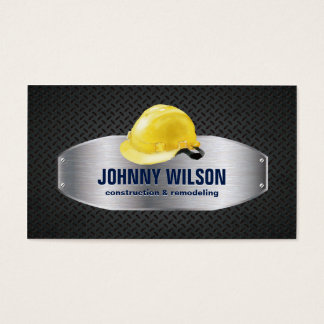 Metal Plate Safety Helmet Construction Renovation Business Card