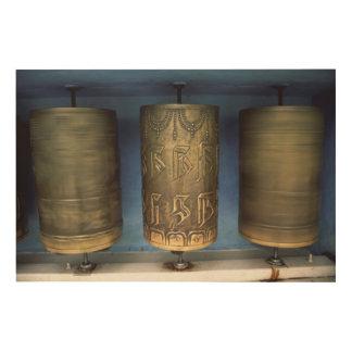 Metal Prayer Wheels Wood Print
