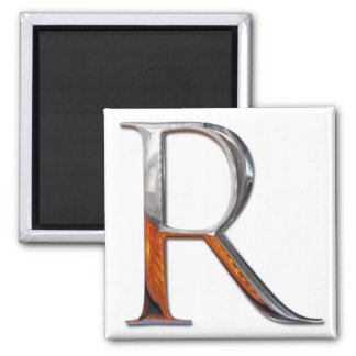 Metal R Monogram Square Magnet