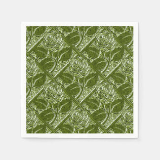 Metal Roses-12-Olive Green-Paper Cocktail Napkins Disposable Serviette