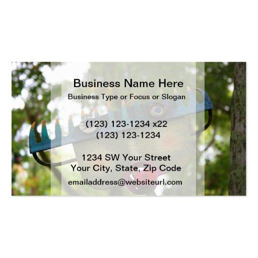 metal sculpture garden face on rake neat design business card