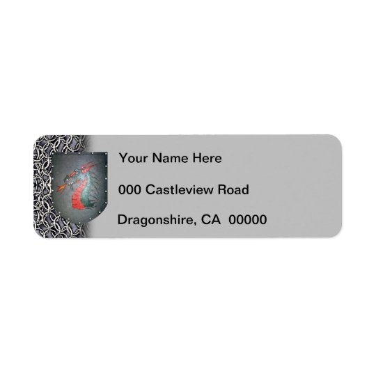 Metal Shield Dragon Chainmail Grey Left Return Address Label