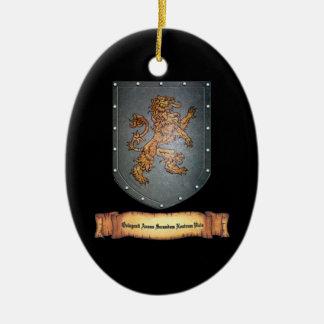 Metal Shield Lion Latin Black Ceramic Ornament