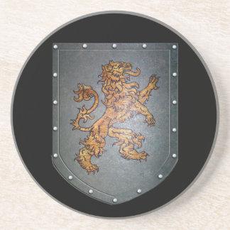 Metal Shield Medieval Lion Sandstone Coaster