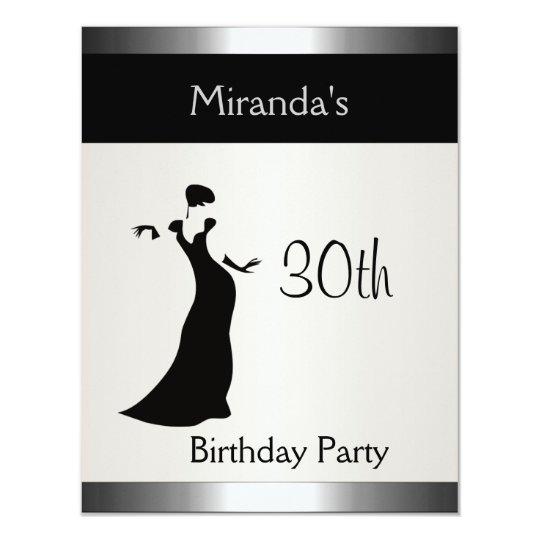 Metal Silver Birthday Party Elegant Lady 2 Card