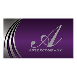 Metal silver grey purple, eye-catching monogram business card templates