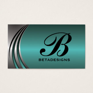 Metal silver grey teal, eye-catching monogram