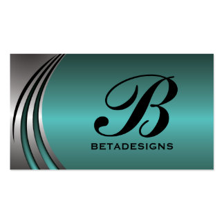 Metal silver grey teal, eye-catching monogram pack of standard business cards