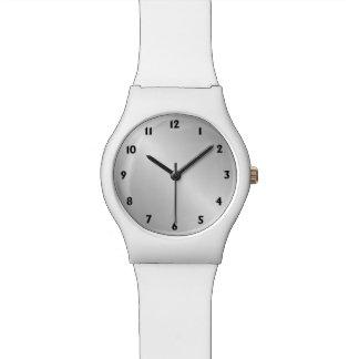 Metal Silver Look Black Numbers Watch