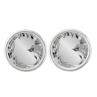Metal Silver Look Cuff Links
