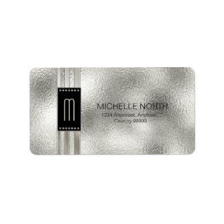 Metal Stripes on Glass Monogram Beige ID443 Address Label