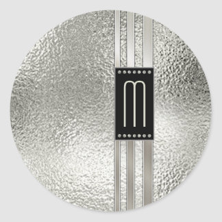Metal Stripes on Glass Monogram Beige ID443 Classic Round Sticker