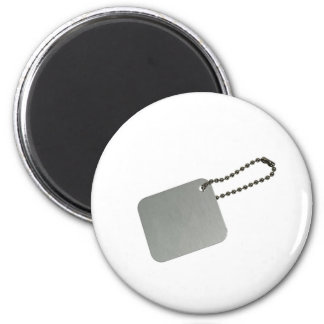 Metal tag with chain 6 cm round magnet
