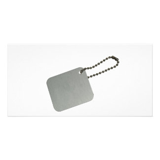 Metal tag with chain photo card