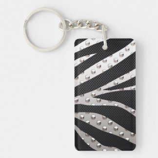 Metal Texture Zebra Print DBL sided Keychain