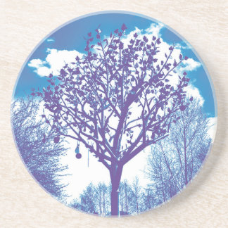 metal tree dull blue coaster
