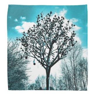 metal tree on the field digital photo blue tint bandana