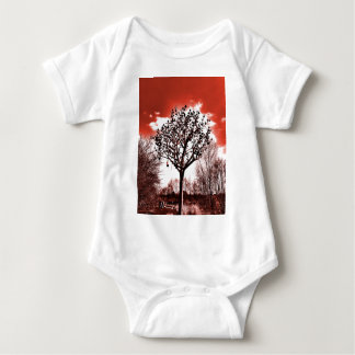 metal tree on the field digital photo red tint baby bodysuit