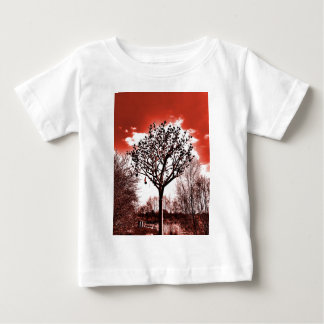 metal tree on the field digital photo red tint baby T-Shirt