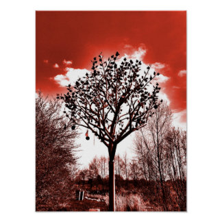 metal tree on the field digital photo red tint poster