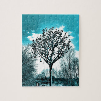 metal tree on the field jigsaw puzzle