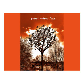 metal tree on the field orange tint postcard
