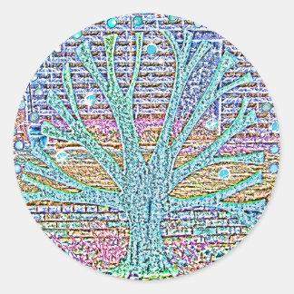 Metal Tree Round Sticker