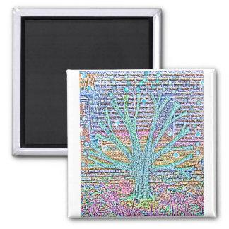 Metal Tree Square Magnet