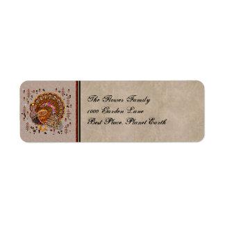 Metal Turkey Return Address Label