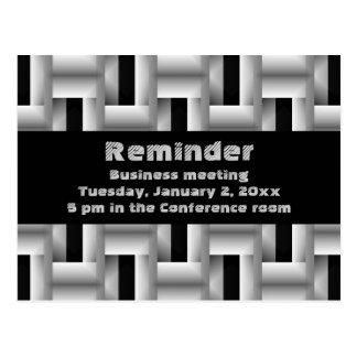 Metal weave business meeting reminder postcard