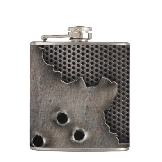 Metal with bullet holes background hip flask