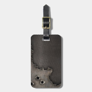 Metal with bullet holes background luggage tag