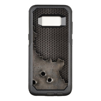 Metal with bullet holes background OtterBox commuter samsung galaxy s8 case