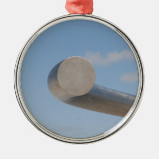 Metalic Blue Skies Silver-Colored Round Decoration