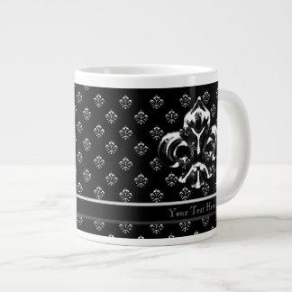 Metalic Fleur de lis (Silver) Jumbo Mug