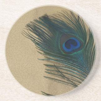 Metalic Gold Peacock Feather Coaster