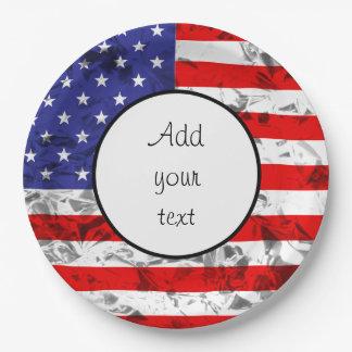Metallic American Flag Design 2 9 Inch Paper Plate