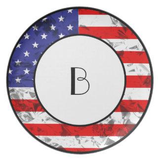 Metallic American Flag Design 2 Dinner Plates
