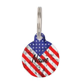 Metallic American Flag Design 2 Pet ID Tag