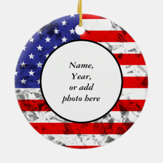 Metallic American Flag Design 2 Round Ceramic Decoration